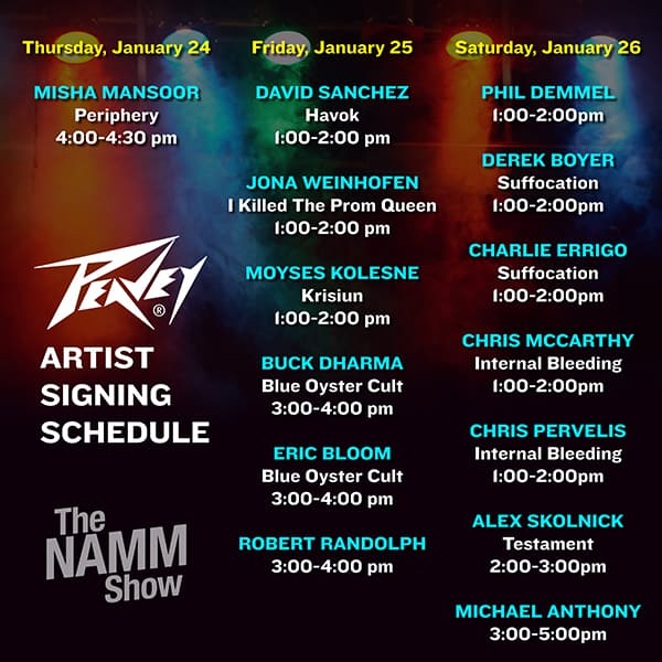 2019 NAMM Show Artist Appearance Schedule